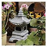 Uziqueif Linterna Japonesa Jardin,Decoración Asiática Linterna Pagoda Al Aire Libre Estatua,Estilo Japonés Solar Zen Jardín Luces Linterna Pagoda Luz Solar Jardín Lámpara Estatua