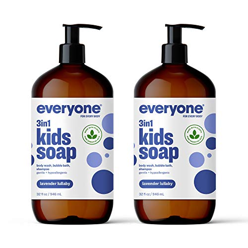 Everyone 3-in-1 Kids Soap: Body Wash, Bubble Bath, and Shampoo, Lavender Lullaby, 32 Ounce, 2 Count- Packaging May Vary