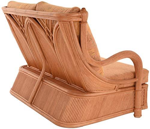 korb.outlet Edles Wohnzimmer Schlafsofa Prince Rattan-Sofa mit Schlaffunktion 2-Sitzer Liegesofa Rattansofa (Terracotta) - 9