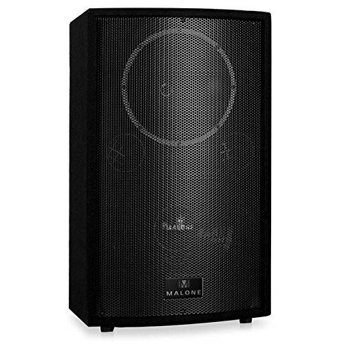 Malone PW-MON-12A - aktive PA Box, 2-Wege-Lautsprecher, Monitorlautsprecher, 1100 W Peak-Leistung, 30 cm (12'')-Subwoofer, Frequenzbereich: 50 Hz - 18 kHz, 2-Band Equalizer, schwarz