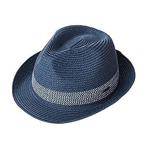 (シッギ) Siggi 帽子 メンズ 麦わら帽子大きいサイズ ハット むぎわら帽子 中折れ帽 ストローハット パナマハット 紳士用 中折れハット 夏 折りたたみ パナマ帽 ゴルフ uvカット レディース 日除け 女性用 ネイビー