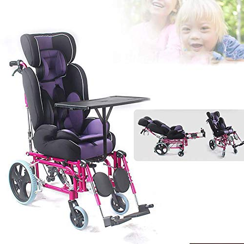 CHHD Zusammenklappbarer Kinderrollstuhl mit vollständiger Liegefunktion, Cerebralparese-Kinder-Handrollstuhl mit hoher Rückenlehne und Esstisch