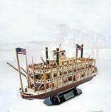 GEEFSU-Modelo de Barco Adorno de Navidad Rompecabezas 3D Modelo de Barco a Vapor...