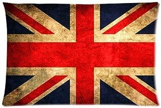 Classic Retro UK United Kingdom Union Jack Flag Custom Rectangle Pillowcase Pillow Cases Cover 16x24 (one side) Standard Size Britain British