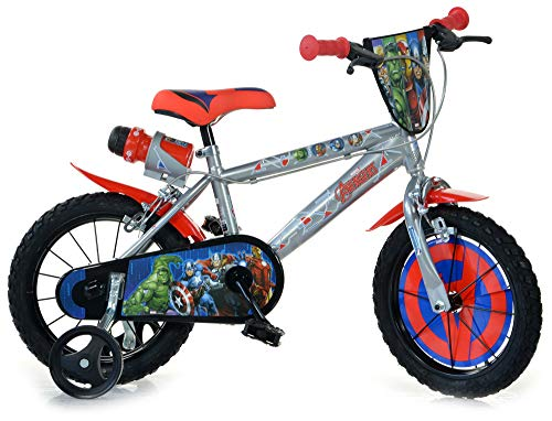 Bici Bicicletta Bambino 14 Pollici Avengers 2 Freni al Manubrio Ruotine Porta Borraccia Parafanghi e Scudo Frontale Grigio