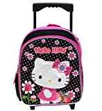 Hello Kitty Girl's Flowers Black/Pink 12' Rolling Backpack