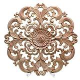 Toogoo talla de madera, decoración de muebles puerta de madera maciza apliques redondos flor figura de artesanía en miniatura tormenta 12x12x2cm