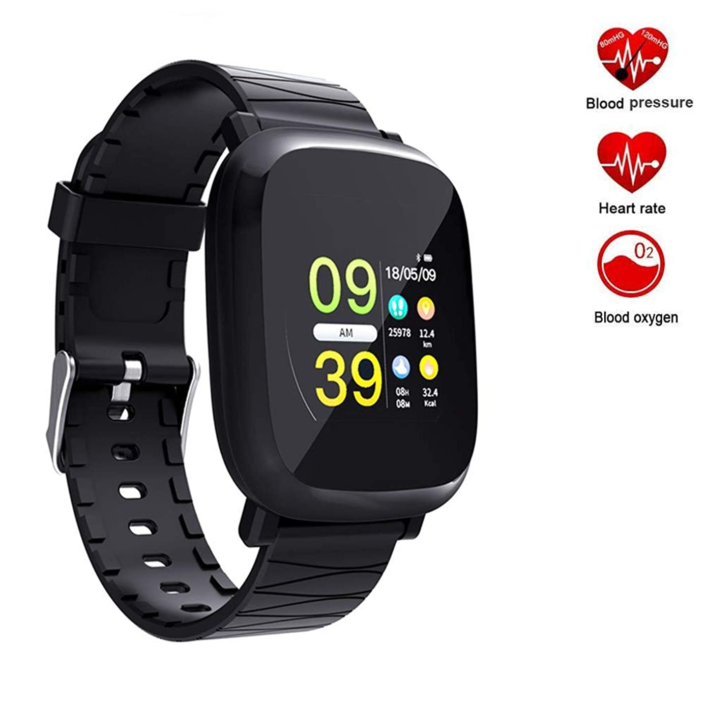 TechCode Bluetooth Smartwatch, Activity Sports Watch with Heart Rate Monitor Step Calorie Distance Tracker IP67 Waterproof Watch Wristband Compatible with iPhone Xs Max/X/8/7,Galaxy S9/Note9/Note8