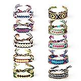 Jolintek Bracelets Tisss  la Main Montre Bracelet Tissu Cheville de Poignet Bracelet Bresilien Bracelet Tissu Femme Couleur Mlange pour Adultes et Enfants (10 Pices)