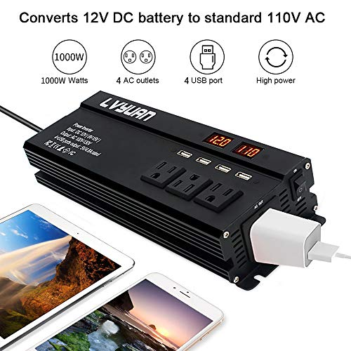 Yinleader 1000W Car Power Inverter DC 12V to 110V AC Converter with 4 USB Ports,4 AC Outlets,LED Display for Truck/RV