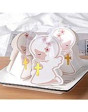 BHGT 50 Pz Scatoline Angioletto Scatole Regalo Angelo Bomboniere Portaconfetti Carta Segnaposto Decorazione per Comunione Battesimo Nascita Cresima Compleanno Matrimonio