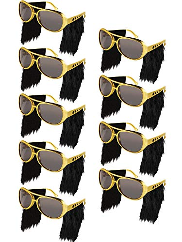 Frienda 9 Pairs Elvis Rockstar Costume Glasses with Wigs, Elvis Sideburn Sunglasses for Fun Gold 70s Disco Costume Accessories (Color 3)