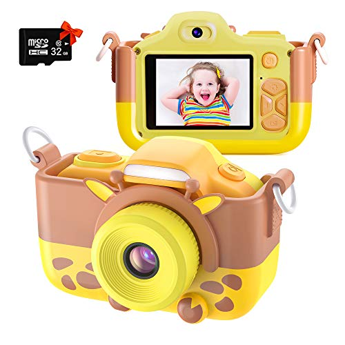 Kriogor Kamera Kinder Digital Fotokamera Selfie und Videokamera mit 2 Zoll LCD 12 Megapixel Dual Lens 1080P HD 256M TF Karte Geburtstagsgeschenk fur Kinder Gelb
