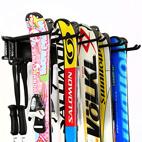 Ultrawall Ski Wall Rack, 5 Pairs of Snowboard Rack Wall Mount,Home and Garage Skiing Storage Mount...