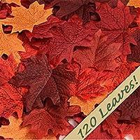 120個のカエデの葉人工カエデの葉秋紅葉色芸術のためのスクラップブッキング結婚式の装飾便利で実用的