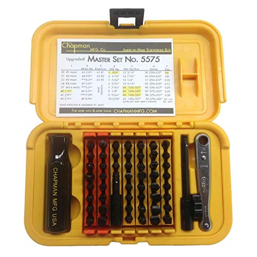 Chapman MFG 5575 Master Screwdriver Set - Includes Phillips, Metric, Slotted, SAE & Metric Hex Bits, Star Bits (for Torx Screws) - Complete Set Offers 51 USA Made Insert Bits & 300+ Combinations