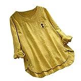 Camisa Casual Femenina, Ropa Lino Tallas Grandes Mujer Blusa Gato Printed Tops Sólida Camiseta de Manga Larga Loose Liquidación Yvelands(Amarillo,XXL)