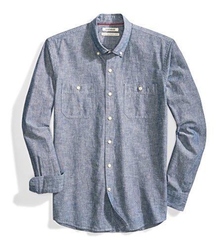Amazon Brand - Goodthreads Men's Standard-Fit Long-Sleeve Chambray Shirt, Navy, Large