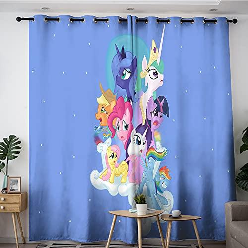 My Little Pony Cortinas opacas con fondo azul para dormitorio, decoración del hogar, 157,5 x 183 cm