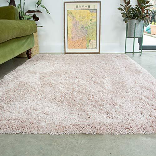 Pink Thick Shaggy Rug Blush Modern Durable Super Soft Fluffy Shag Rugs...