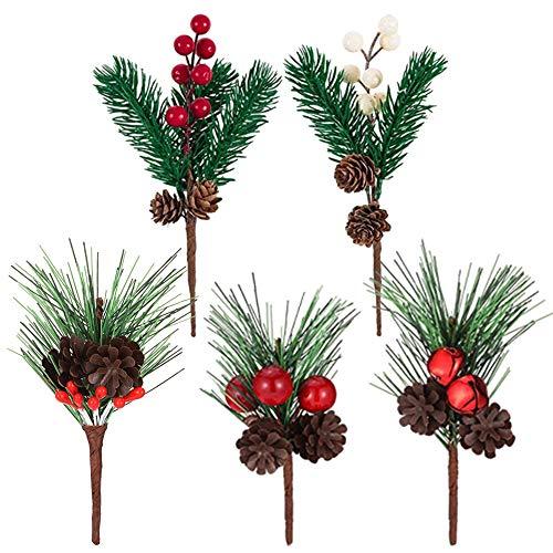 Tannenzweige Tannenzapfen Weihnachten Beere Tannenzweig Gefälschte Beeren Tannenzapfen Weihnachten Pine Picks Beeren Künstliche Kiefer Picks Für Hochzeit Garten Weihnachtsbaum Handwerk Deko 5 Stücke