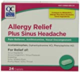 Quality Choice Sinus Allergy Headache, Pain Relief Caplets, 24-Count Boxes (Pack of 6)