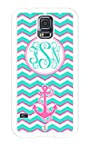iZERCASE Samsung Galaxy S5 Case Monogram Personalized Turquoise White and Pink Chevron with Cute Anchor Rubber CASE - Fits Samsung Galaxy S5 T-Mobile, Sprint, Verizon and International (White)