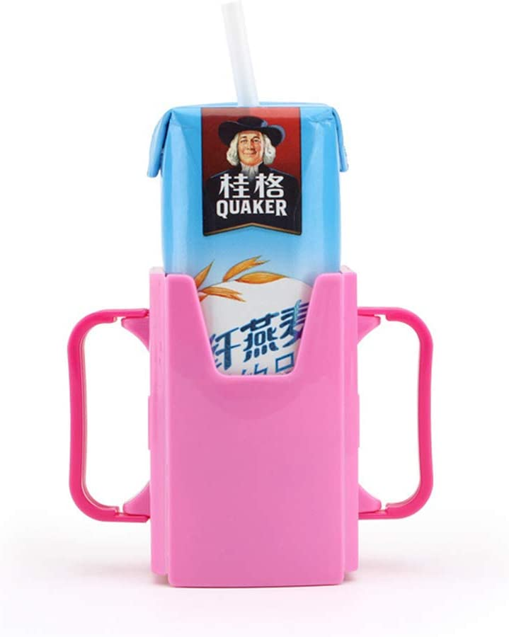 BeesClover Bottle Cup Holder Adjustable Safety Toddler Kid Juice Milk Box Drinking Bottle Cup Holder Green 1pc