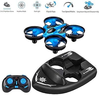 3T6B Mini-Drone Télécommandé pour Enfants, Bateau Télécommandé pour Le Lac et la Piscine, Télécommande de Voiture 3 en 1 Jouet Aéroglisseur étanche à la Mer et à la Terre - Cadeau pour Enfants