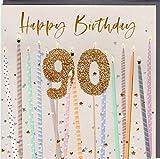 Belly Button Designs BE243 - Tarjeta de felicitación de 90º cumpleaños con relieve y cristales, ideal también para regalar dinero o cupones