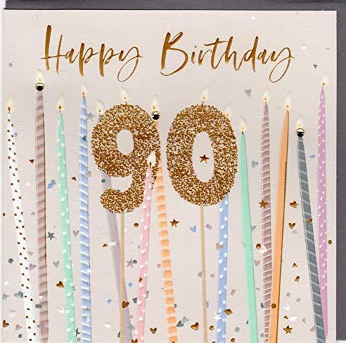 Belly Button Designs Specjalna kartka z życzeniami na 90. urodziny z wytłoczeniem i kryształami, idealna również na prezent pieniężny lub bon. BE243