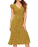 Auxo Vestido Largo Verano Mujer Manga Corta Vestido Playa Cuello V Sexy Vestidos Casual Estampados Florales Amarillo M