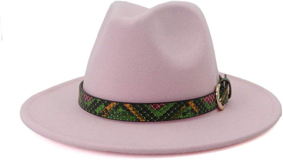 LIRRUI Men's Women's Autumn Winter Wide Retro Fedora Hat Leopard Print Leather Band Cotton Jazz Hat Top Hat (Color : Pink, Size : 56-58cm)