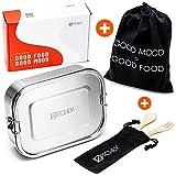 Kitchly 2in1 Premium Lunchbox Brotdose aus Edelstahl - 800 ml - Auslaufsicher & Spülmaschinengeignet   Perfekt für Unterwegs   +Nachhaltigem Bambus Besteck & Baumwolltasche