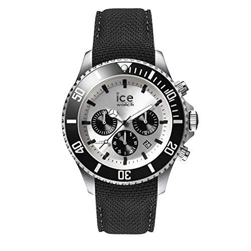 ICE-WATCH Ice Steel Black Silver Chrono, Reloj Negro para Hombre con Correa de Silicona, Chrono, 016302 (Large)