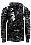 Rusty Neal Zipper Stehkragen Pullover Herren Strick Grobstrick Strickpullover Langarm 328, Farbe:Schwarz, Größe:M