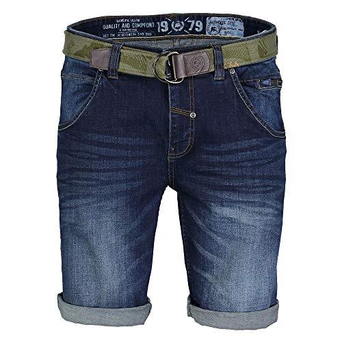 LERROS Men 2939213 475/02 Herren Jeansshorts mit Gürtel Five-Pocket-Form Stretch, Groesse 33, dunkelblau Used Denim