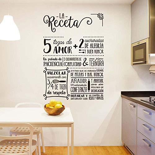 XAOQW Receta Pegatina La Receta diseño Vinilo Pared calcomanía Mural Arte Fondo de Pantalla Cocina decoración casa decoración casa cartel-H601 White_42x60cm