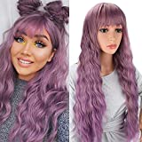 Sukri Long Wavy Wig for Women Passion wavy Wig with Bangs 30 inch Synthetic Wig Light Purple Hair Replacement Wig for Party Cosplay