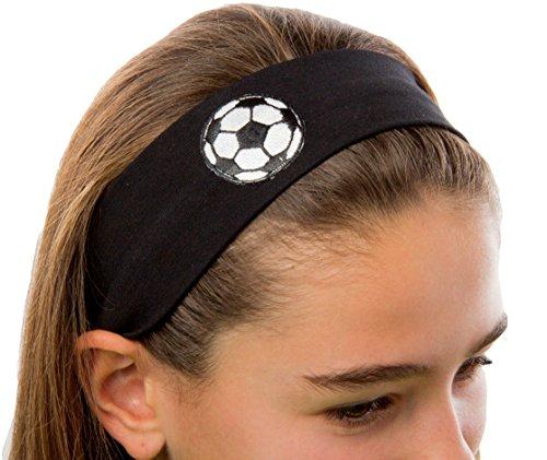 Funny Girl Designs Cotton Soccer Ball Patch Stretch Headband (Black)