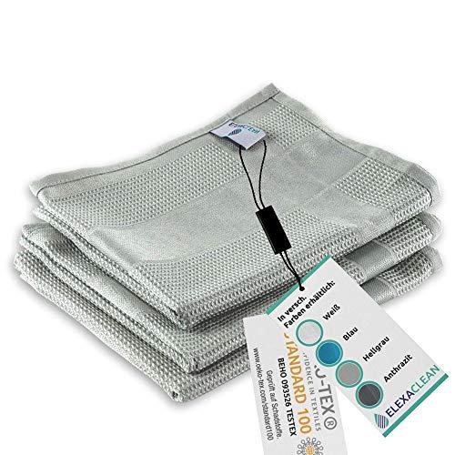 ELEXACLEAN Geschirrtücher Microfaser (3er Set, 68x42 cm, grau) - OEKO-TEX® STANDARD 100 - Geschirrhandtücher, Handtücher Küche modern