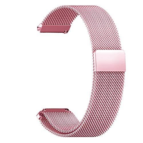 RanGuo Correa de Repuesto para Relojes Inteligentes, Banda con un Ancho de Correa de 16mm/ 18m / 20 mm / 22mm / 24mm, Metal de Acero Inoxidable con Cierre magnético Correa de Reloj (18mm, Rosa)