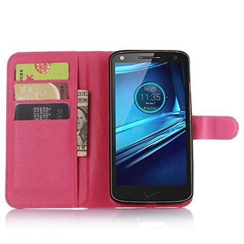 Ycloud Tasche für Motorola Moto Droid Turbo 2 Hülle, PU Ledertasche Flip Cover Wallet Hülle Handyhülle mit Stand Function Credit Card Slots Bookstyle Purse Design Rose Red