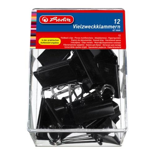 Herlitz 10411197 Vielzweckklammern 41mm, 12er Packung, Farbe schwarz