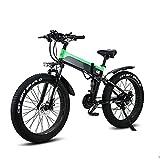 WBYY Bicicleta Eléctrica Plegable para Adultos, Bicicleta Electrica Montaña de 26 Pulgadas, 500W 48V 10AH con la Pantalla LCD, 21 Velocidades, 3 Modos,Verde