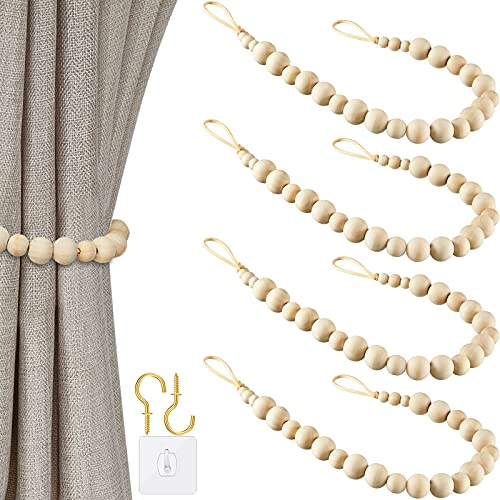 Wood Bead Curtain Tieback Bead Curtain Rope Tie Rope Holdbacks with Wooden Beads Wood Bead Curtain Holdback for Home Office Party Decor (Wood Color,4 Pieces)