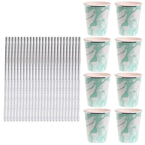 Hemoton 1 ensemble de vaisselle en marbre vert - 33 pièces - Assiettes à gâteau - Ensemble de vaisselle tendance pour fête d'anniversaire - Fournitures pour la maison, le restaurant