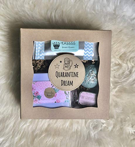 Quarantine Dream: Funny Quarantine Gift Self Care Bath Spa Items, Pampering Gift for BFF, Care Package for Friend, Funny Encouragement Gift