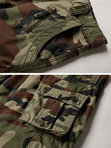 AKARMY Men's Cotton Casual Military Army Camo Combat Work Cargo Pants with 8 Pockets Battlefield Camo 42