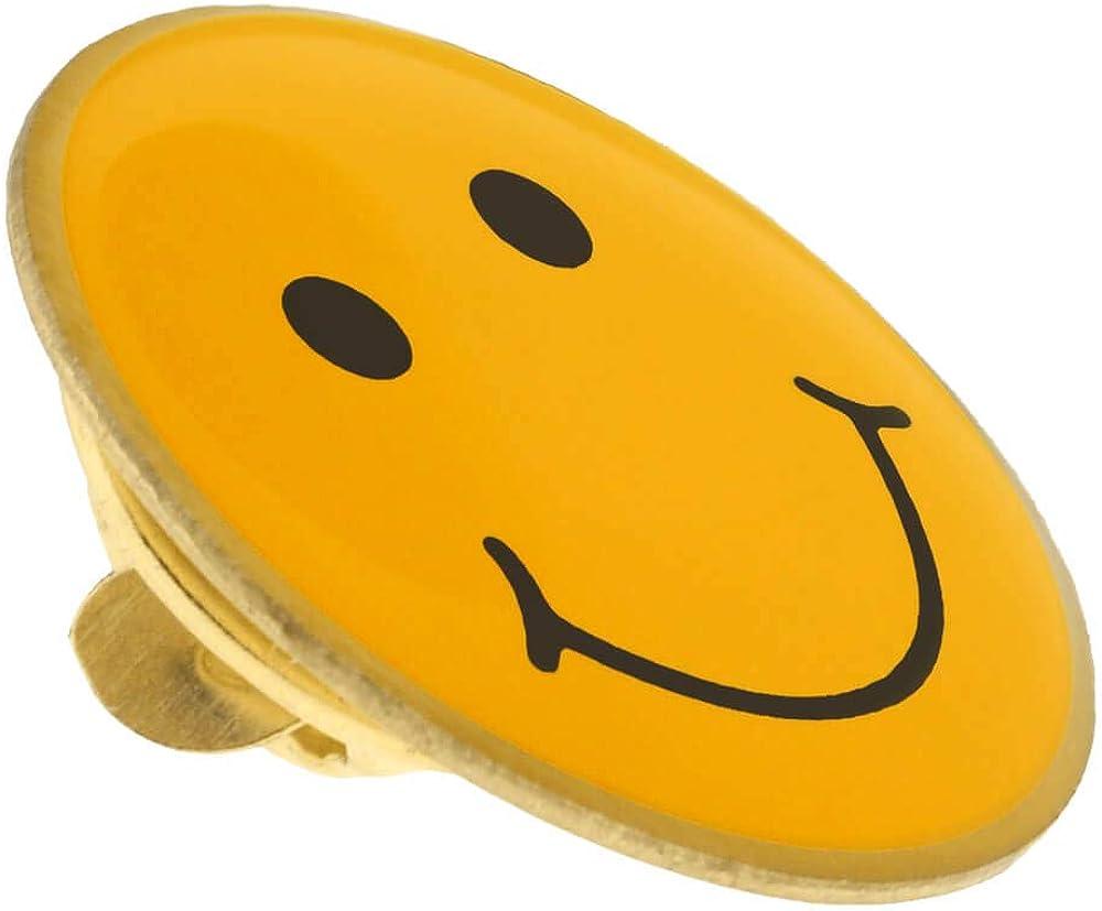 PinMart Yellow Smiley Face Enamel Lapel Pin